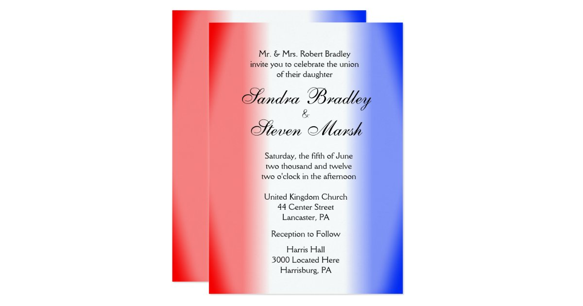 White And Red Wedding Invitations: Red White And Blue Wedding Invitations