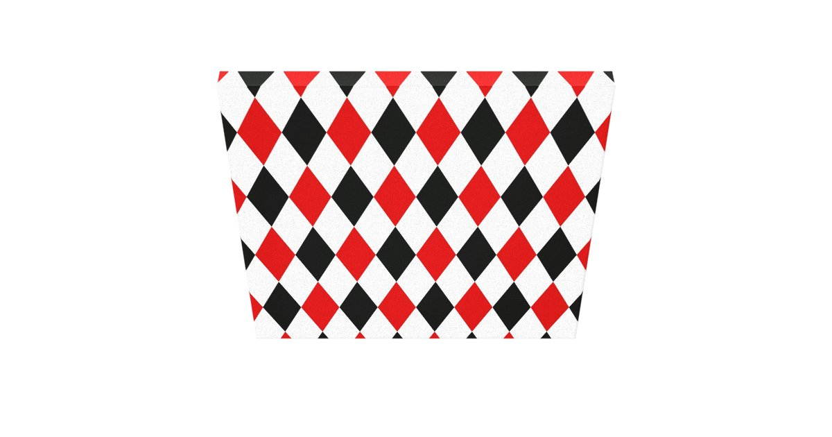 Red White Black Harlequin Diamond Pattern Canvas Print