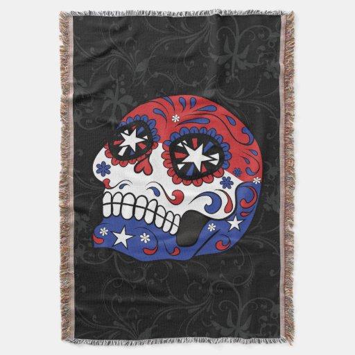 Red White Blue American Flag Patriotic Sugar Skull Throw