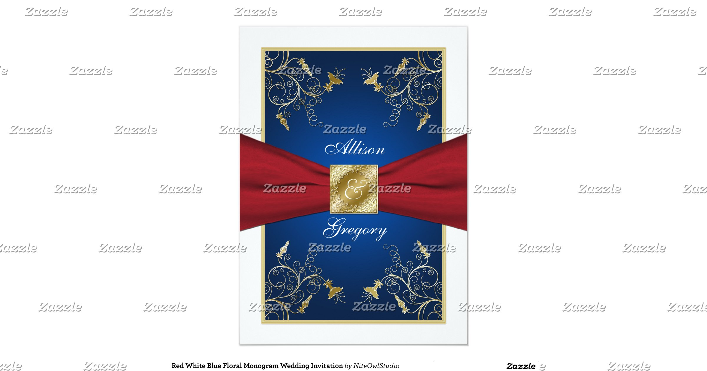 Red White And Blue Wedding Invitations: Red_white_blue_floral_monogram_wedding_invitation