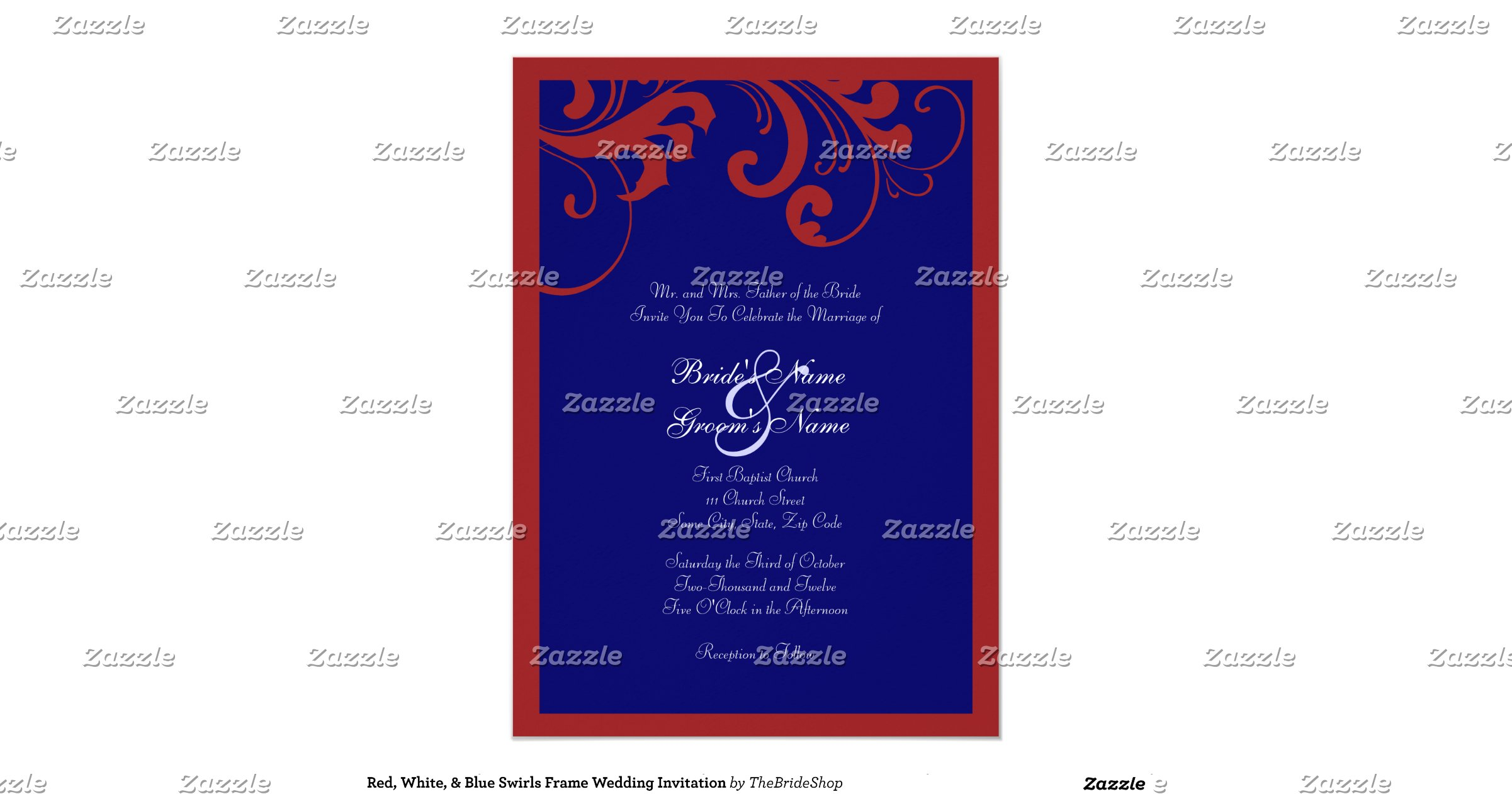 Red White And Blue Wedding Invitations: Red_white_blue_swirls_frame_wedding_invitation