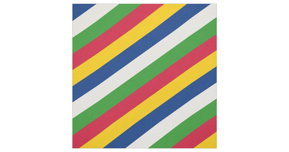 Stripe Blue Green And White: Red, Yellow, Blue, White And Green Striped Pattern Fabric