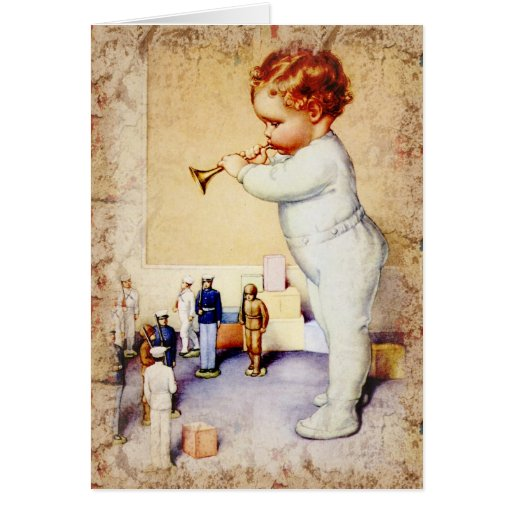 redhead baby boy blowing horn to soldiers card  zazzle