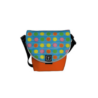 Refresh - Fruity Colorful Polka Dots on Aqua Blue Courier Bags