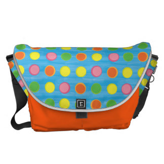 Refresh - Fruity Colorful Polka Dots on Aqua Blue Courier Bag