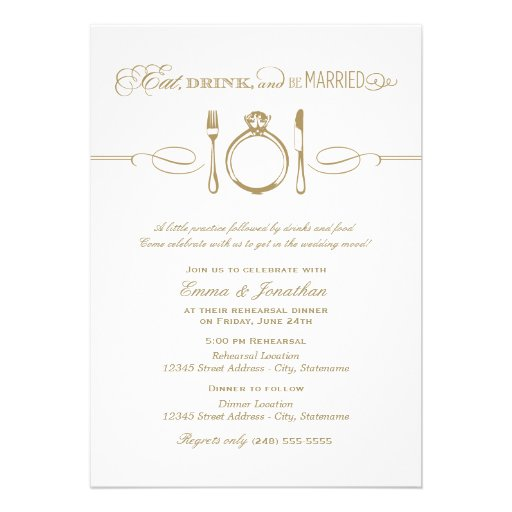 Rehearsal Dinner Invite Eat Drink And