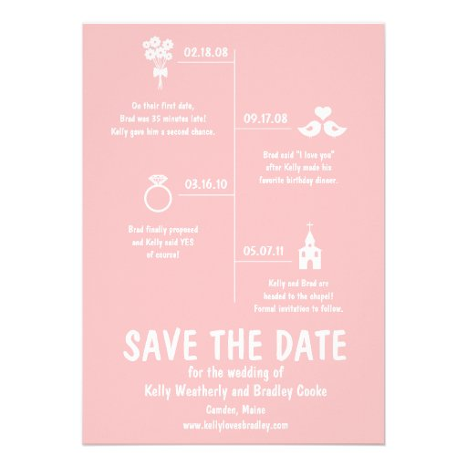 Relationship Timeline Save The Date 5x7 Paper Invitation