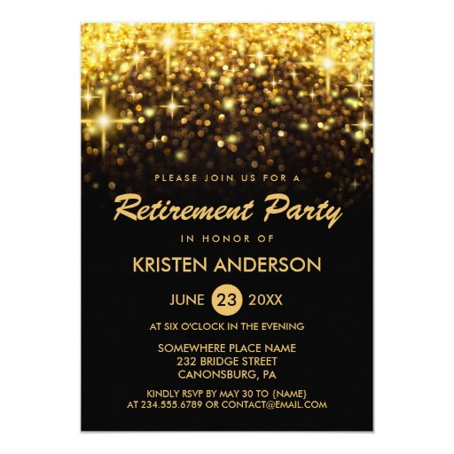 Retirement Party Gold Glitter Glamour Sparkles Card Zazzle