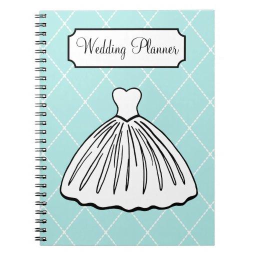 Retro Aqua Wedding Planner Notebook | Zazzle