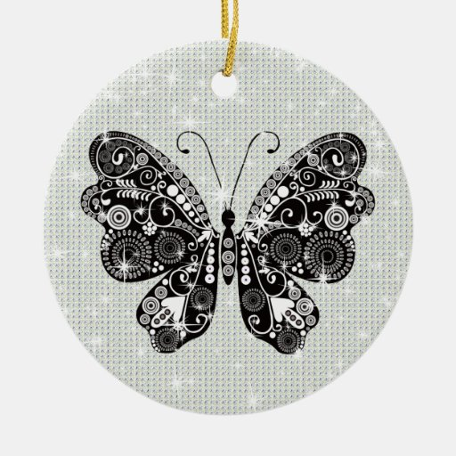 Retro Black & White Butterfly Christmas Tree Ornaments ...