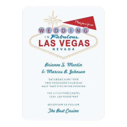 Las Vegas Wedding Invitation Wording: Retro Las Vegas Sign Casino Wedding Invitation