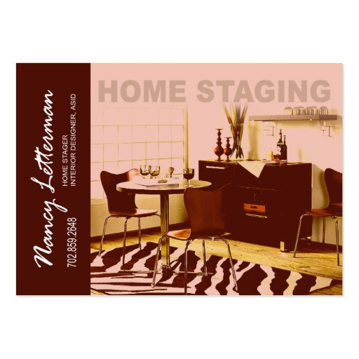 Interior Design Home Staging: Retro Look Home Staging Interior Design Business Cards