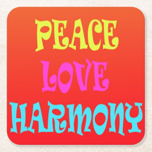 retro peace love harmony square coasters zazzle. Black Bedroom Furniture Sets. Home Design Ideas