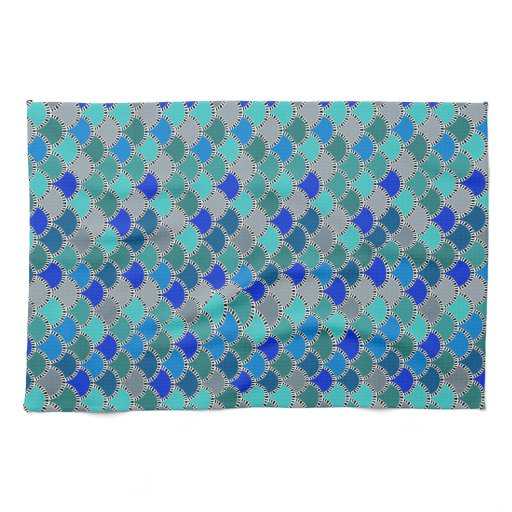 Turquoise Kitchen Towels: Retro Turquoise Blue Teal Gray Scales Pattern Towels