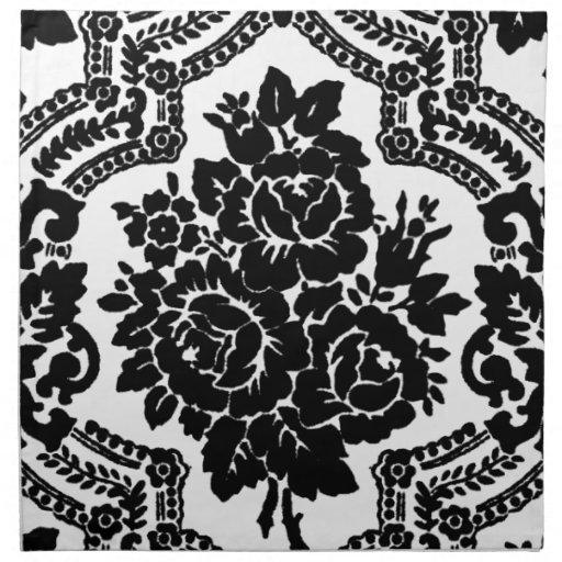 Retro victorian floral print, black and white. napkin | Zazzle