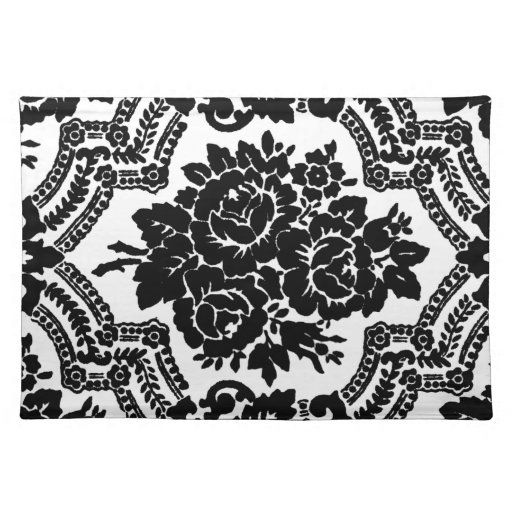 Retro victorian floral print, black and white. place mat ...