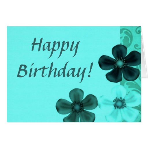 Retro Vintage Flowers Teal Happy Birthday Card