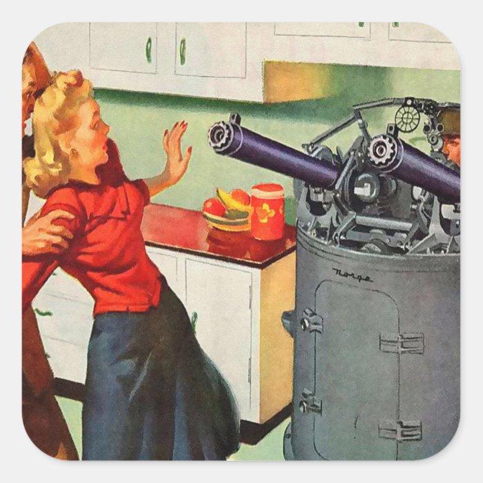 Retro Vintage Kitsch Ad Kitchen Battle StickersRetro Kitchen Ad