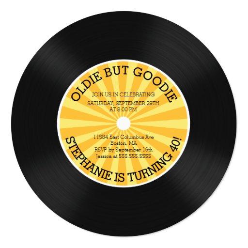Retro Vinyl Record Birthday Party Invitation 5 25 Quot Square