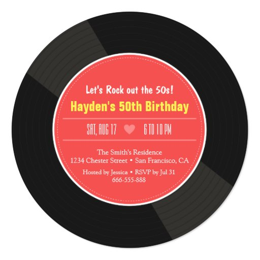 Retro Vinyl Record Birthday Party Invitations