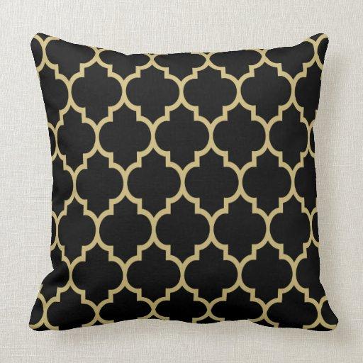 reversible black and gold tan quatrefoil pattern pillow zazzle. Black Bedroom Furniture Sets. Home Design Ideas