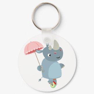 Rhino with Umbrella on Unicycle Keychain keychain