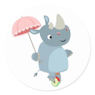 Rhino with Umbrella on Unicycle Sticker sticker