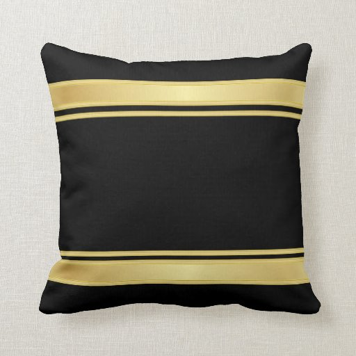 rich black and gold stripes throw pillow zazzle. Black Bedroom Furniture Sets. Home Design Ideas