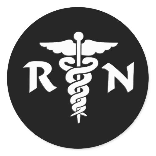 RN Nurses Medical Symbol Classic Round Sticker | Zazzle