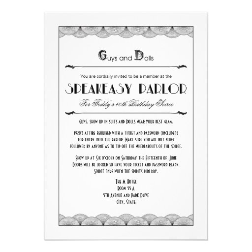 Personalized Vintage 1920s Invitations