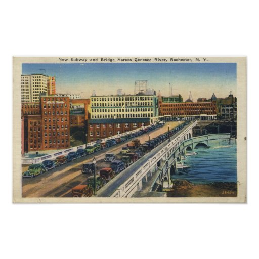 Rochester Subway And Broad Street Bridge Poster