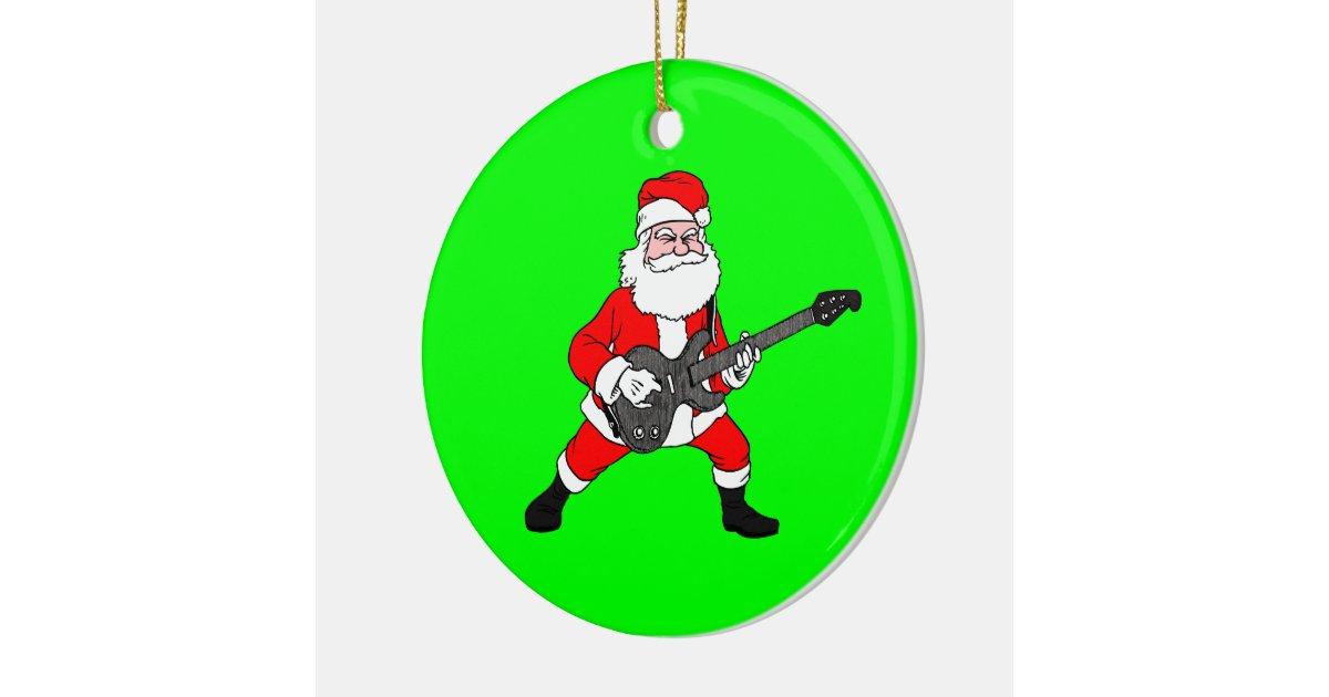 Rock N Roll Santa Claus Ceramic Ornament