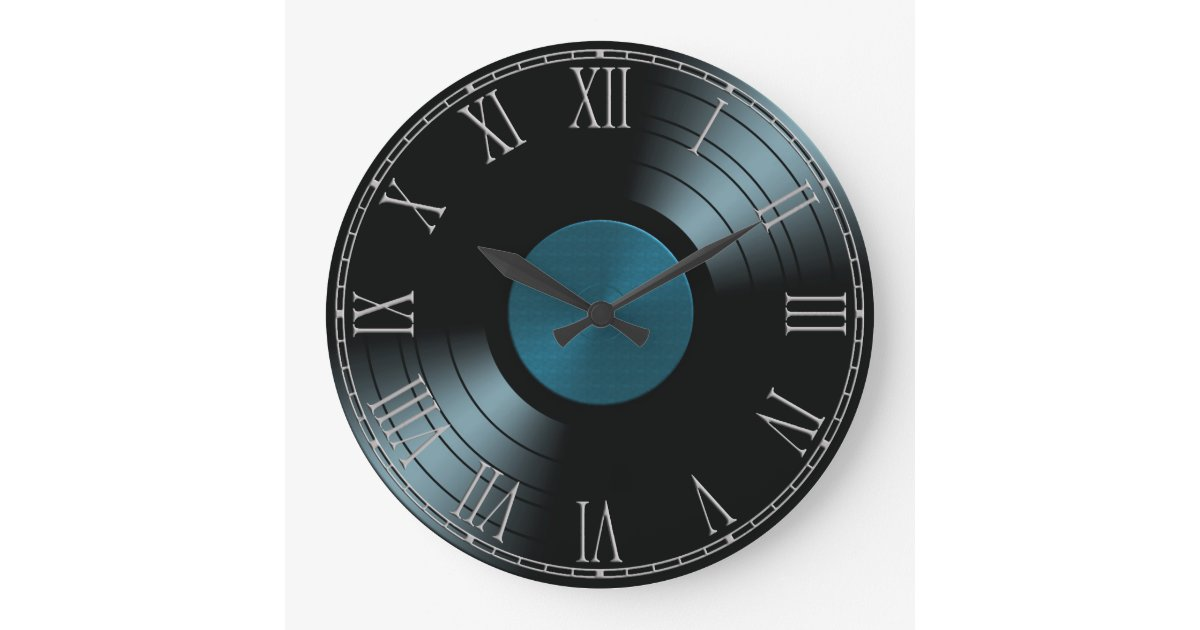 Rock N Roll Vinyl Record Album In Blue Large Clock Zazzle