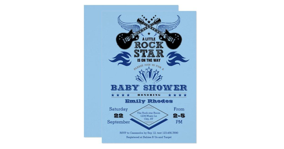 rock star baby shower invitation zazzle. Black Bedroom Furniture Sets. Home Design Ideas