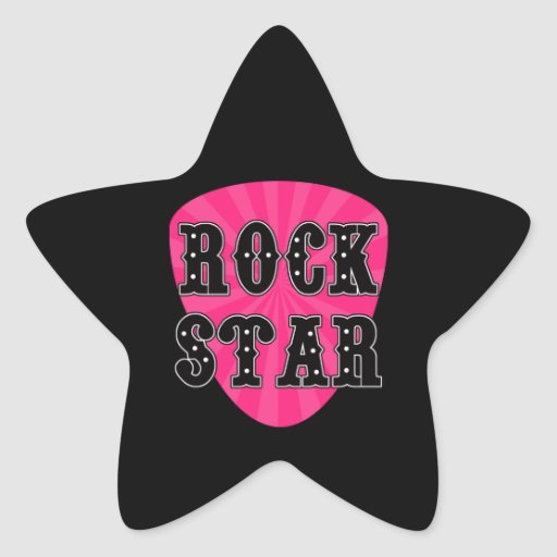 rock star guitar pick star sticker zazzle. Black Bedroom Furniture Sets. Home Design Ideas