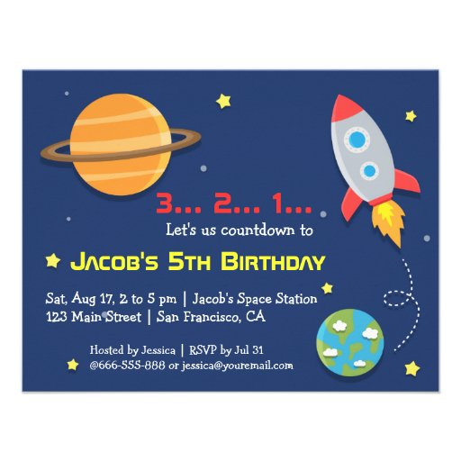 Personalized Outer Space Birthday Party Invitations