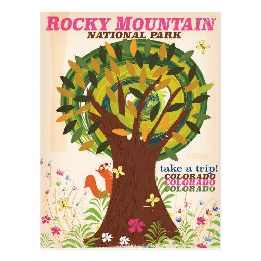 Rocky Mountain National Park Poster: Rocky Mountain National Park Vintage Poster Postcard