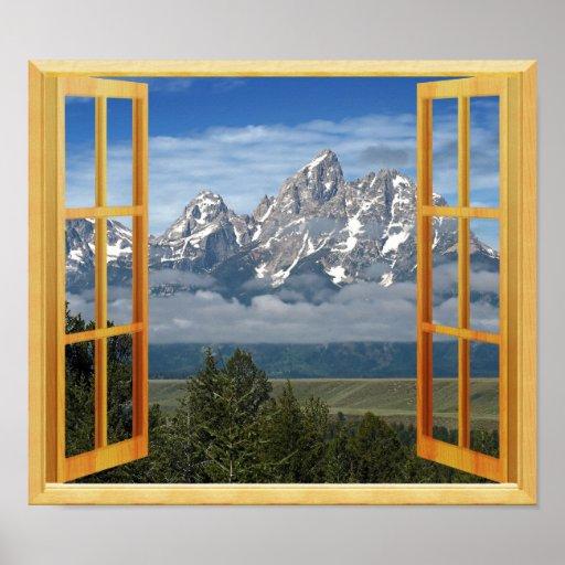 Rocky Mountain Snow Top Window View Poster Zazzle