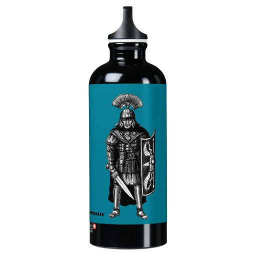 Roman centurion ink pen drawing art water bottle | Zazzle