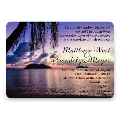 "Sunset Beach Wedding Ideas: Romantic Beach Purple Sunset Wedding Invitation 5"" X 7"