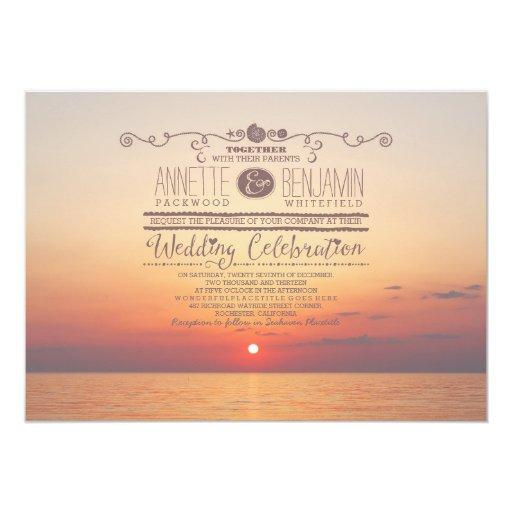 Sunset Beach Wedding Ideas: Romantic Beach Sunset Sea Wedding Invitation