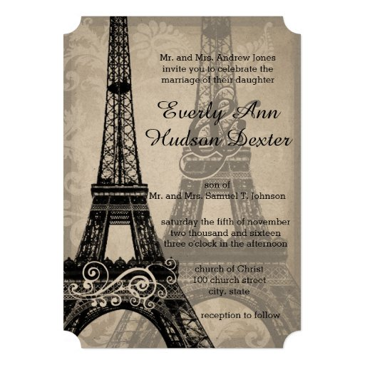 Eiffel Tower Wedding Invitations: Romantic Eiffel Tower Shadows Damask Wedding Invitation