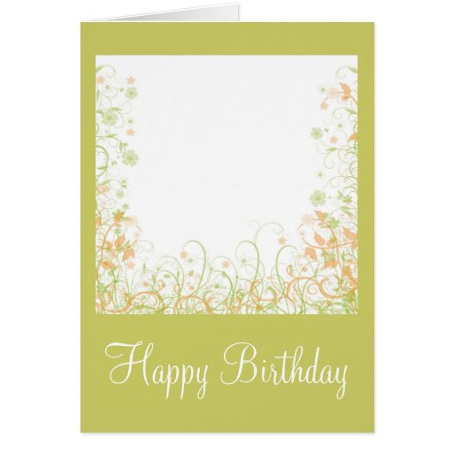 Romantic Floral Design - Happy Birthday Greeting Card