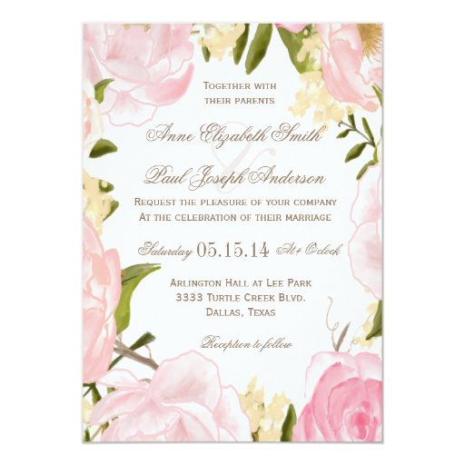 Getting Married Floral Invitation: Romantic Floral Wedding Invitation