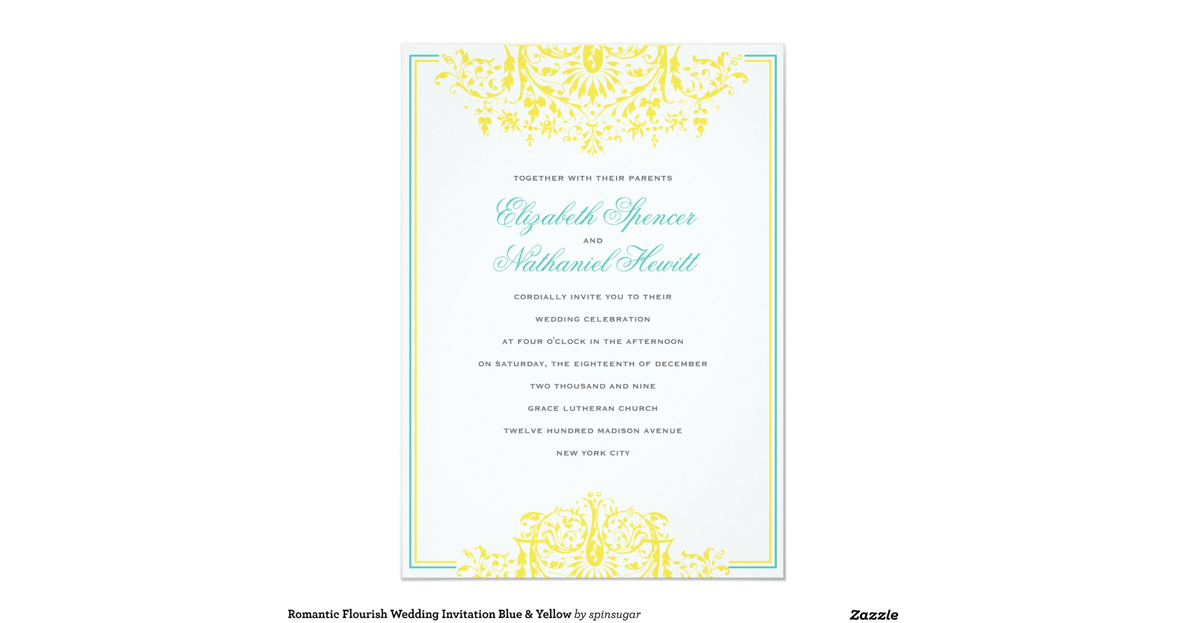 Flourish Wedding Invitations: Romantic_flourish_wedding_invitation_blue_yellow