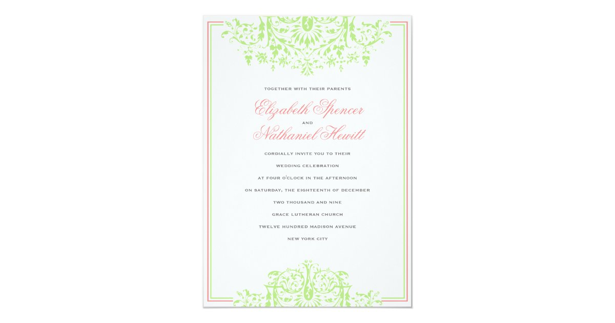Flourish Wedding Invitations: Romantic Flourish Wedding Invitation Pink & Green