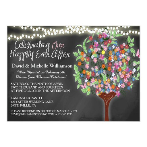"Romantic Lights Whimsical Tree Post Wedding Invite 4.5"" X"