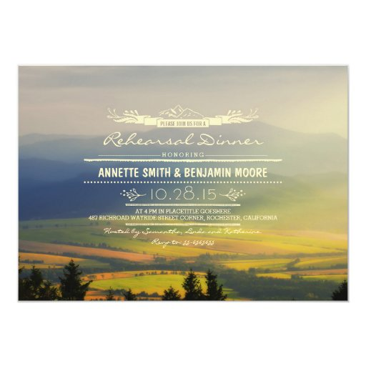 Romantic Mountains Rehearsal Dinner Invitations Zazzle