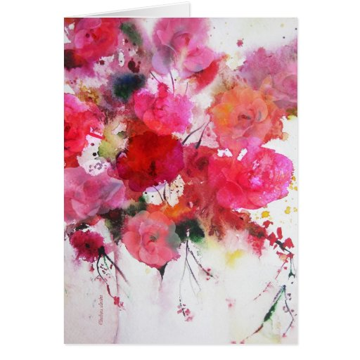 Romantic Pink Roses Happy Birthday Greeting Card Zazzle