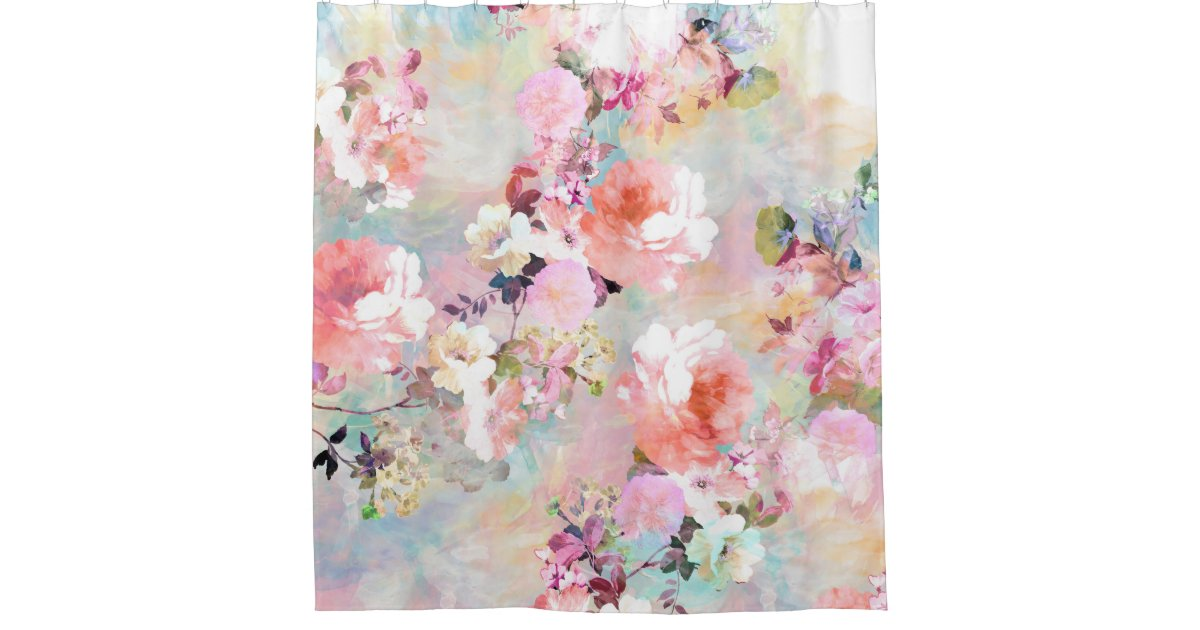 Romantic Pink Teal Watercolor Chic Floral Pattern Shower